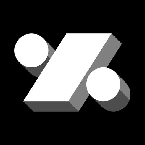 Icono de porcentaje de símbolo matemático, gráfico de porcentaje vector
