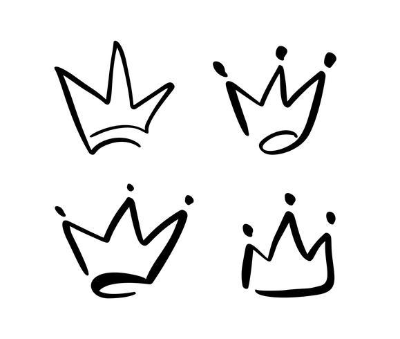 Conjunto de símbolo dibujado a mano de una corona estilizada. Dibujado con tinta negra y pincel. Ilustración del vector aislada en blanco. Diseño de logo. Pincelada de grunge