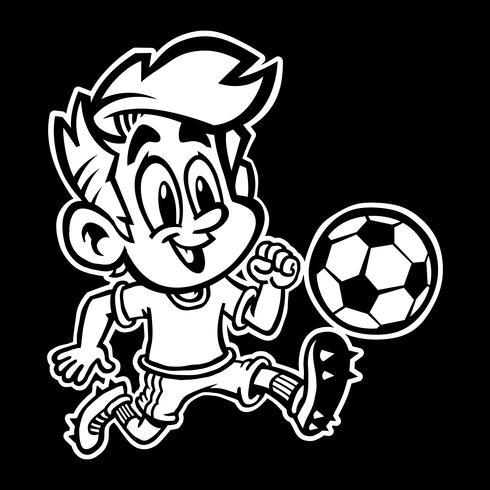 Cartoon Boy Kid Spelar fotboll eller fotboll i en grön T-shirt och Cleat Shoes