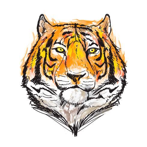fantastische Tigeraquarell-Vektorillustration
