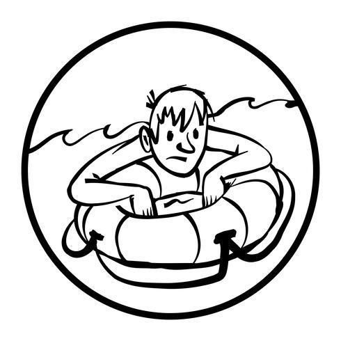 Hombre aferrado a la ilustración de vector de dibujos animados de salvavidas