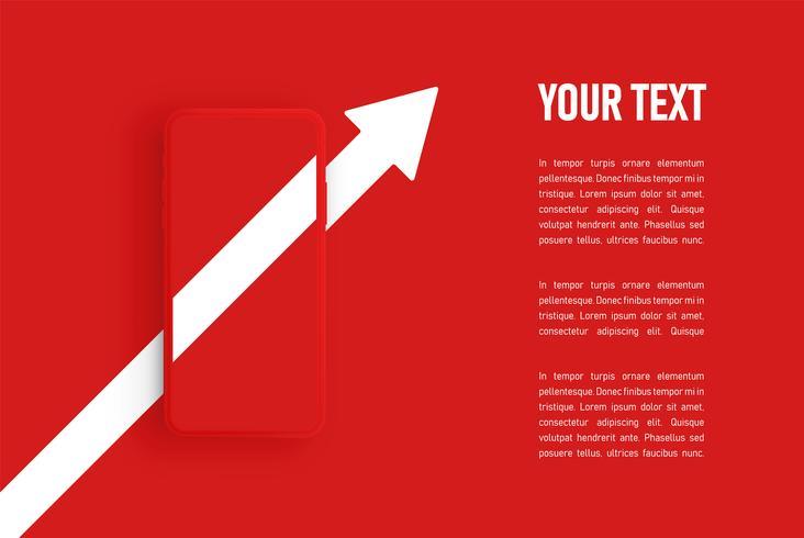 Red matte smartphone template, vector illustration