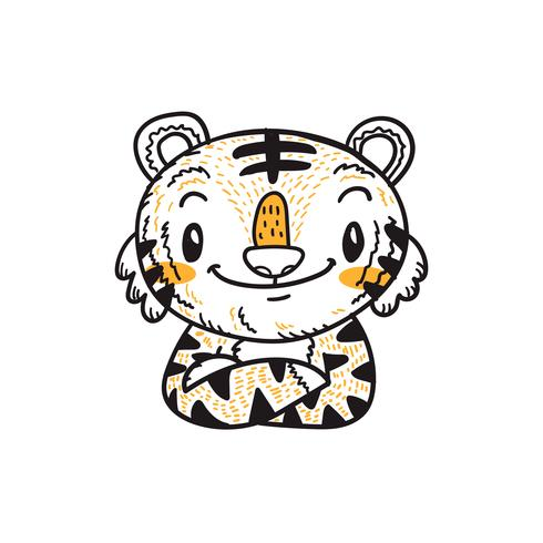 Lindo Pequeño Tigre Vector De Dibujos Animados Doodle