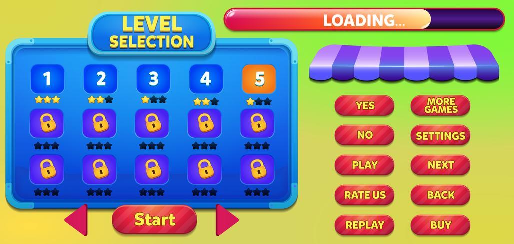 Livelli la scena del menu di gioco di selezione con pulsanti, barra di caricamento e stelle