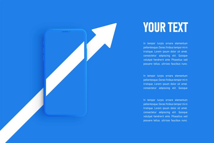 Modelo de smartphone fosco azul, ilustração vetorial