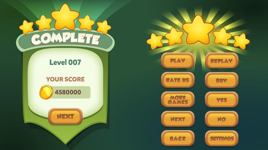 Livello completo menu pop-up con punteggio e pulsanti di stelle