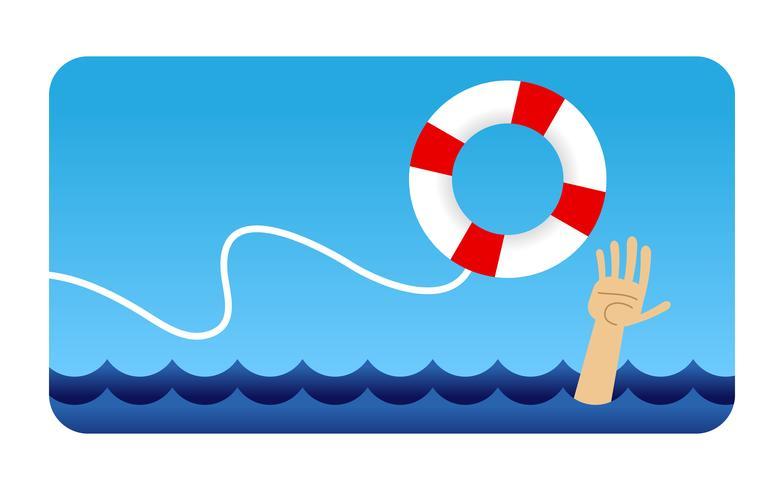Man clinging to life preserver cartoon vector illustration