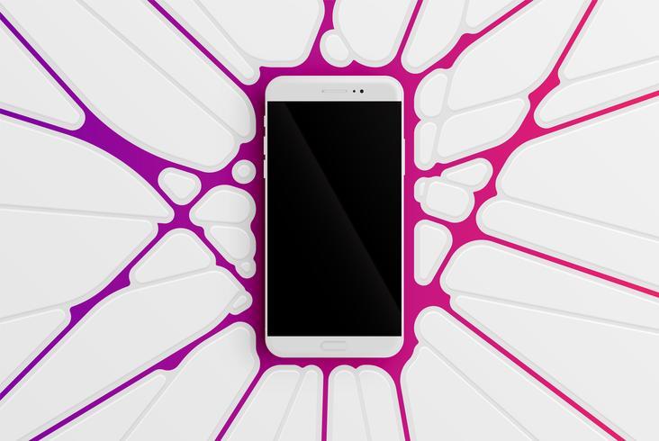 Plantilla de teléfono inteligente colorido para publicidad, ilustración vectorial
