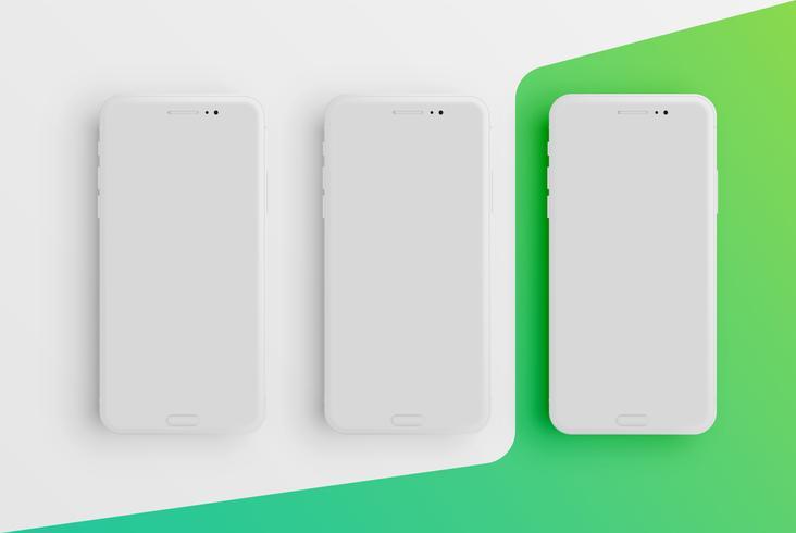 Modello di smartphone opaco colorato realistico, illustrazione vettoriale