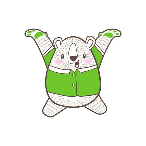 vettore sveglio di scarabocchio del fumetto dell'orso piccolo