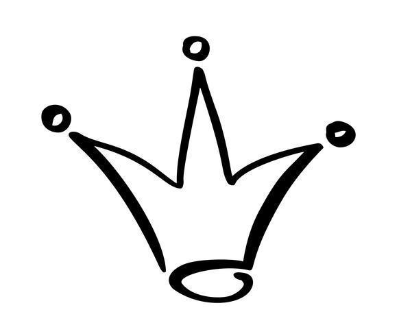Simbolo disegnato a mano di una corona stilizzata. Disegnato con inchiostro nero e pennello. Illustrazione vettoriale isolato su bianco. Design del logo. Pennellata di grunge