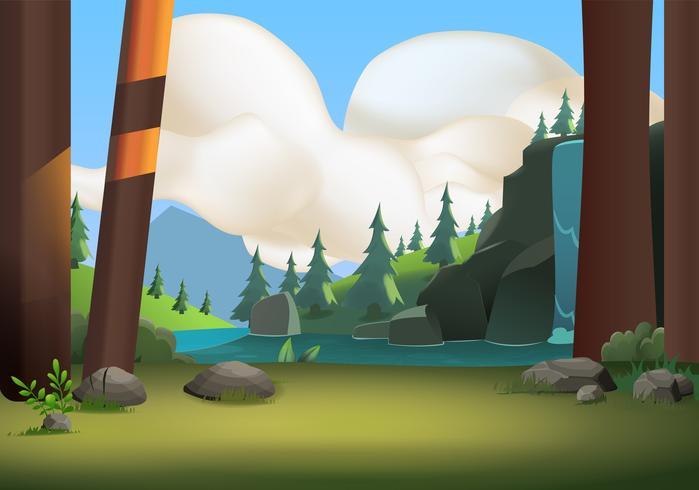 Skog kulle natur landskap vektor natur bakgrund
