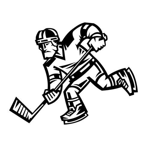 Illustration vectorielle de joueur de hockey