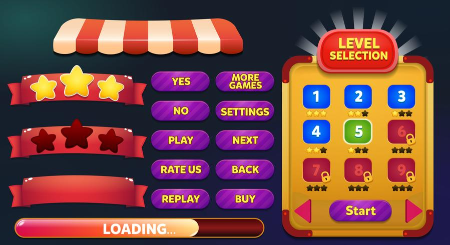 Level selection game menu scene with buttons, loading bar and stars