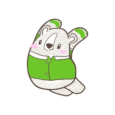 vector de doodle de dibujos animados lindo osito