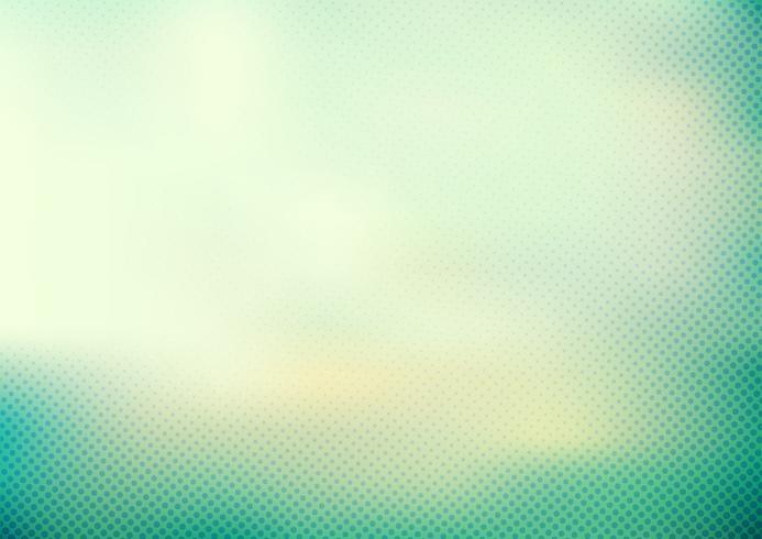Fondo borroso liso del color verde turquesa de la menta abstracta y estilo de semitono del modelo de puntos. vector