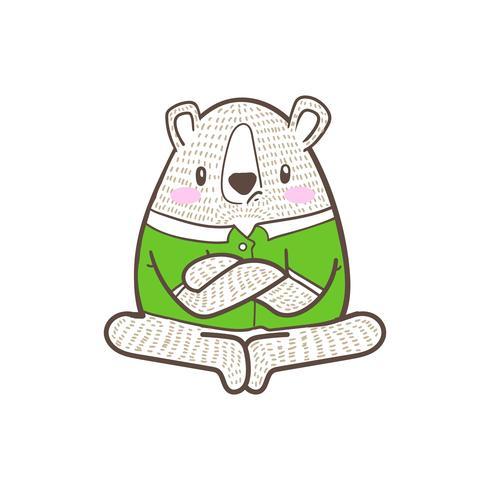 niedlicher kleiner Bärn-Cartoon-Gekritzelvektor
