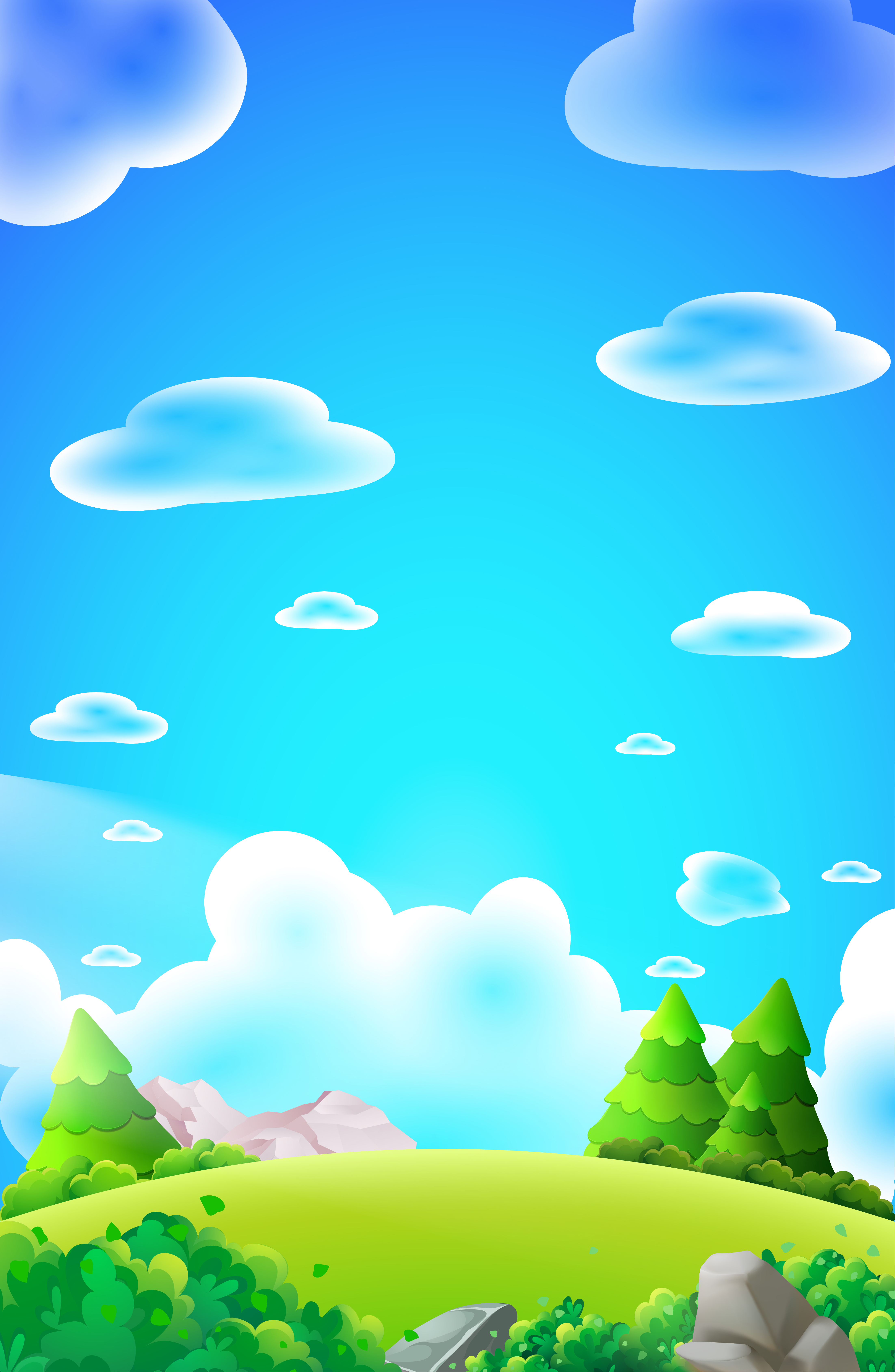 Cartoon forest hill portrait vector nature background ...