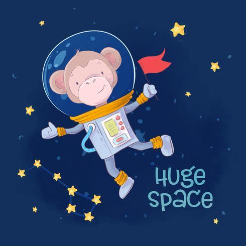 Vykort Affisch söt apa astronaut i rymden med konstellationerna och stjärnorna i en tecknad stil. Handritning. vektor