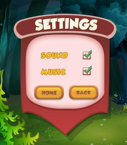 Instelling menu scene pop-up spel ui