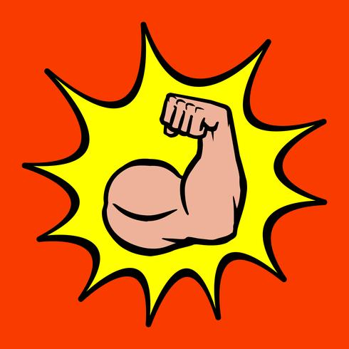 Starker Bodybuilder-Bizeps-Flexarm-Vektor-Ikone