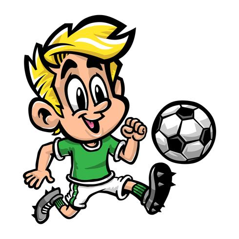 Cartoon Boy Kid Playing Football Or Soccer In A Green T Shirt And Cleat Shoes Download Free Vectors Clipart Graphics Vector Art