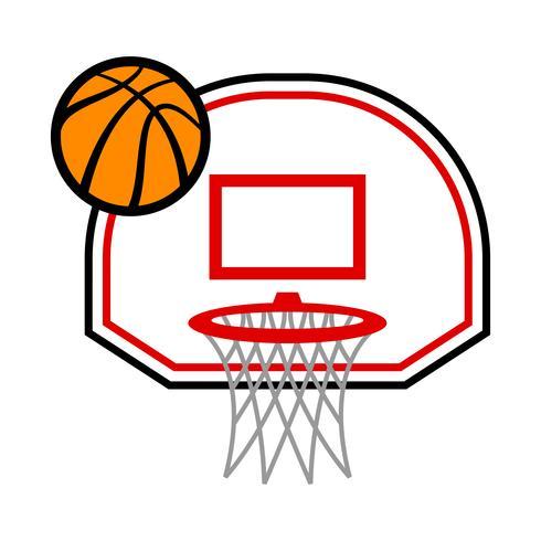 Cartoon vector basketball and net