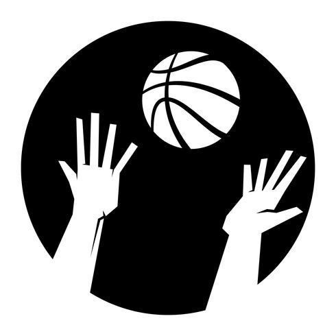 Vector la ilustración de las manos de dos jugadores de básquet que alcanzan para un baloncesto