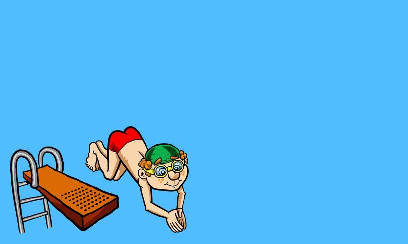 Vector illustratie van een gelukkig jong geitje dat van een duikplank duikt.