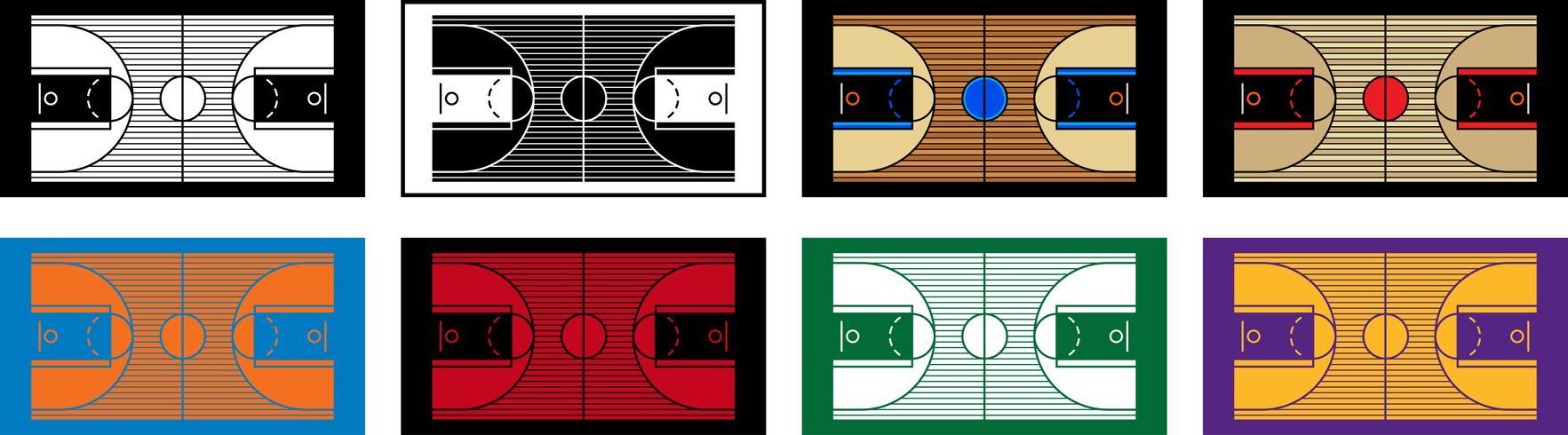 Ilustração em vetor de uma quadra de basquete de madeira
