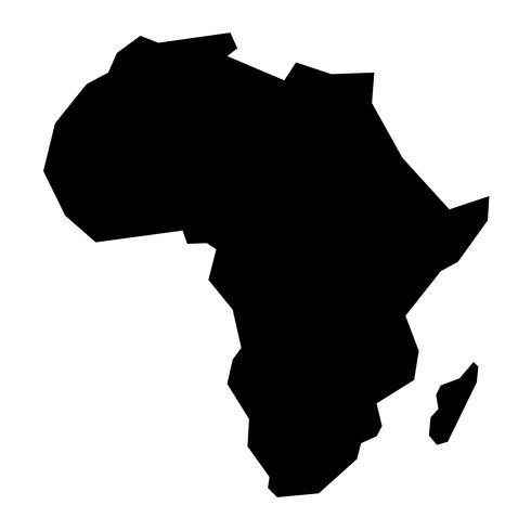 Detaljerad karta över Afrika kontinent i svart silhuett