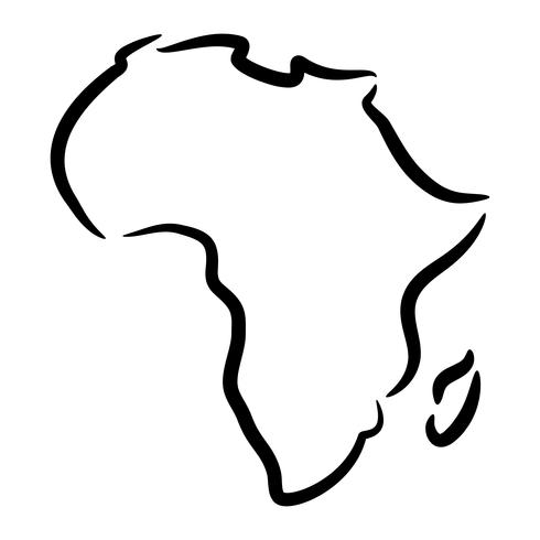 Detailed Map of Africa Continent in Black Silhouette vector