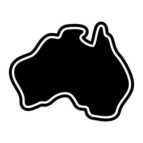 Australia mapa geografía forma vector icono