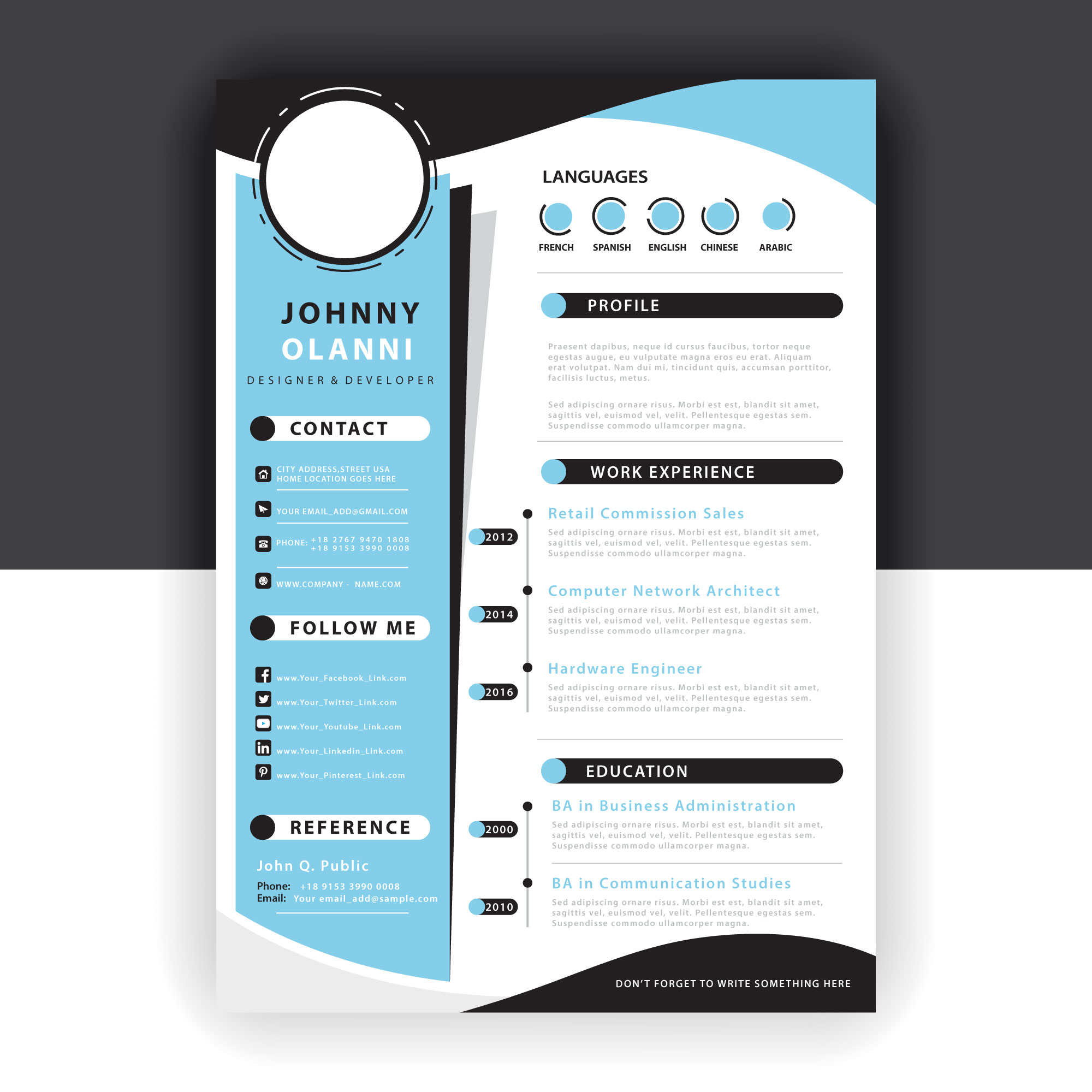abstract resume template
