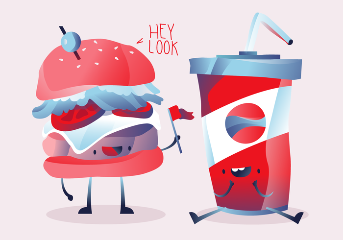 Hamburger Och Cola Karaktär Vektor Illustration