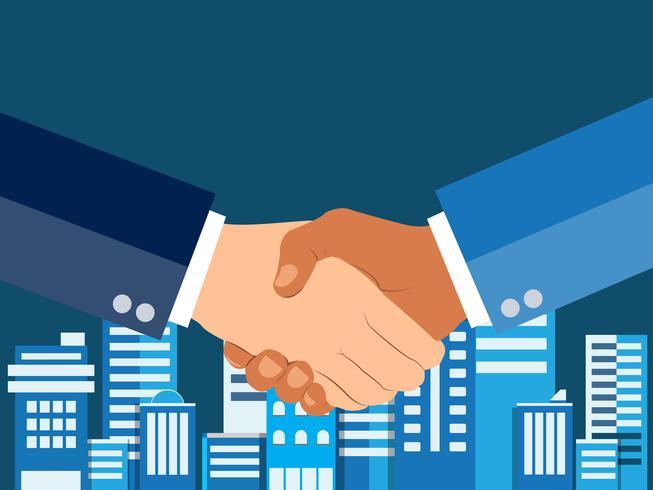 Shaking hands flat design concept. Handshake, business agreement. partnership concepts. Two hands of businessman shaking. Vector illustration on blue urban city background.