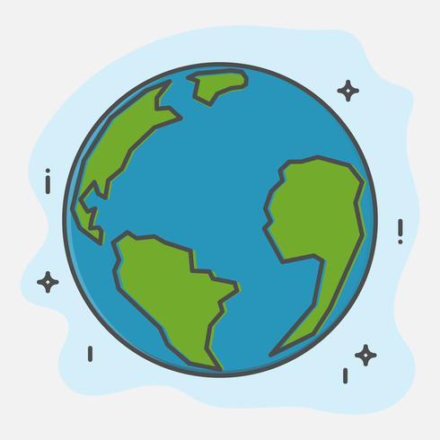 Red Earth Planet en de wereld. Wereldmilieudag. Dunne lijn kunst pictogrammenstijl. vector