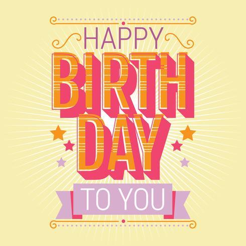 Happy Birthday Typography Vector Design