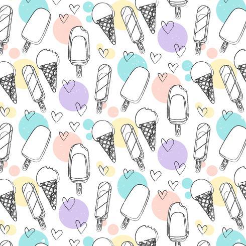 Vector dibujado a mano patrón de helado