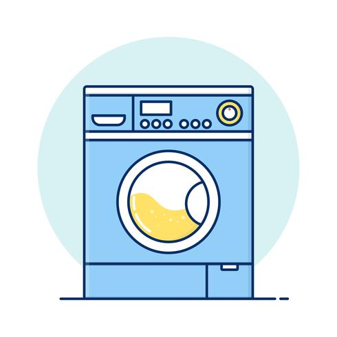 Fine Line art Washing machine for web icons