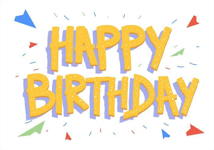 Feliz aniversário tipografia em fundo branco e letras amarelas