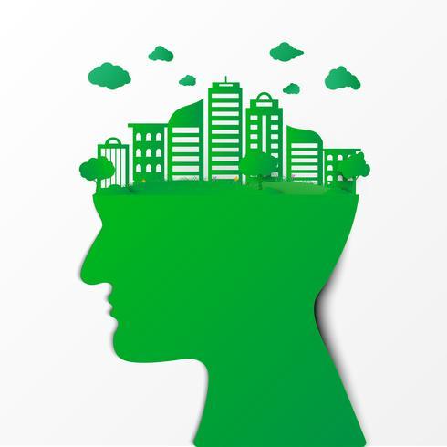 Denkender Umweltschutz des menschlichen Kopfes. Naturlandschaft und umweltfreundliches Konzept. Origami-Konzept und Ökologie-Idee, Save Earth Planet World Concept. Weltumwelttag Konzept .;