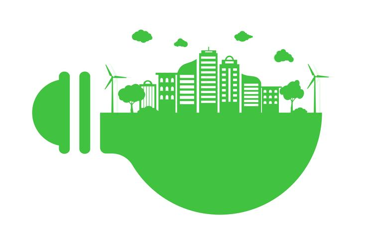Save Earth Planet World Concept. World environment day concept. green modern urban city on green bulb, safe the world , ecology concept vector