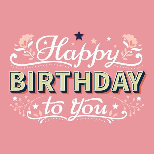 Alles- Gute zum Geburtstagtypographie-Beschriftung mit Sternen und Flourish-Hintergrund