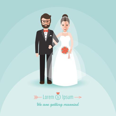 Noivo e noiva no dia do casamento. vetor
