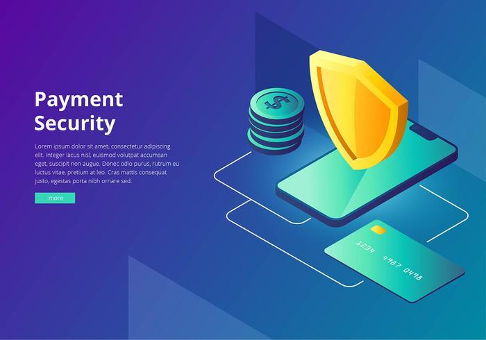 Cyber-Sicherheits-Zahlungs-Schnittstellen-Schablonen-Vektor