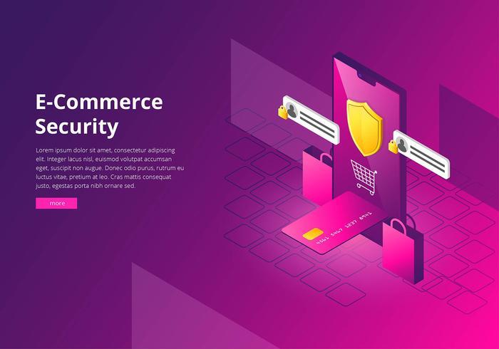 E-Commerce-Internetsicherheits-Schnittstellen-Schablonen-Vektor
