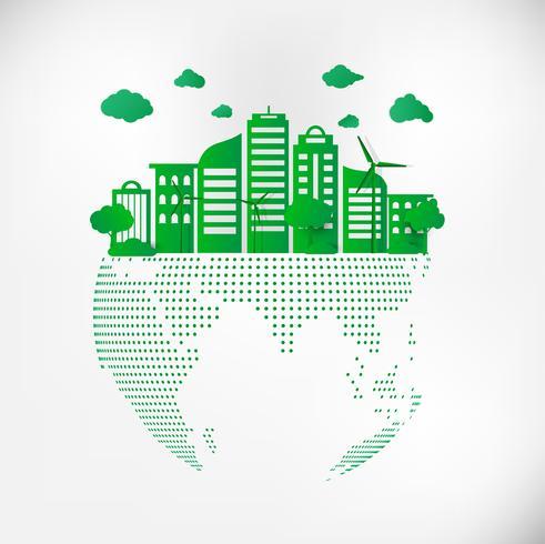 Spara Earth Planet World Concept. Världsmiljödagskonceptet. grön modern stadsstad på grön punktklot, säkra världen, ekologi koncept