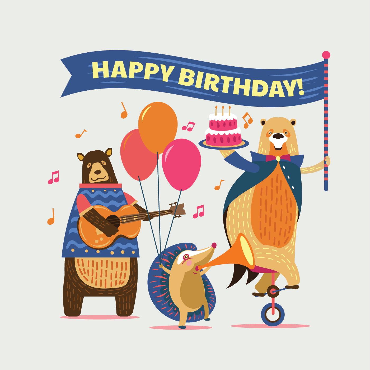 Cute Cartoon Animals Illustration For Kids Happy Birthday