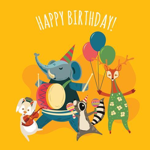 Animais de selva de música bonito Cartoon ilustração para festa de aniversário feliz